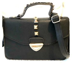 Handbags - Studded stylish Crossbody black leather bag.